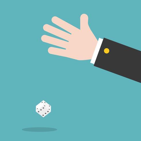 mano e dadi, concetto di gioco d'azzardo vettore design piatto