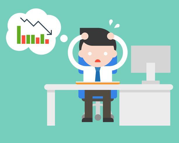 uitgeputte zakenman stress en paranoïde op kantoor omdat slechte omzet, platte ontwerp