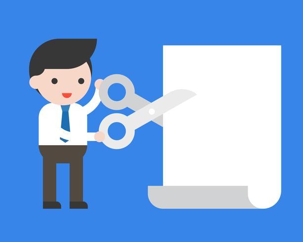 De holdingsschaar van de zakenman om document leeg malplaatje voor gebruik als banner of affiche te snijden