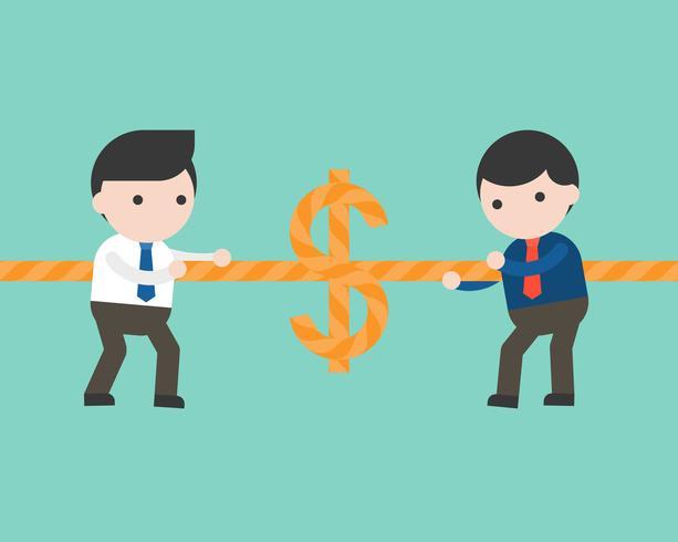 Twee zakenlieden die touw, touwtrekwedstrijdgeldspel trekken