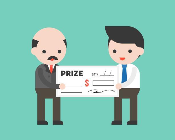 Hombre de negocios que recibe un gran premio de cheque del CEO vector