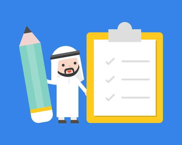 Cute Arab businessman holding giant pencil with checklist vector