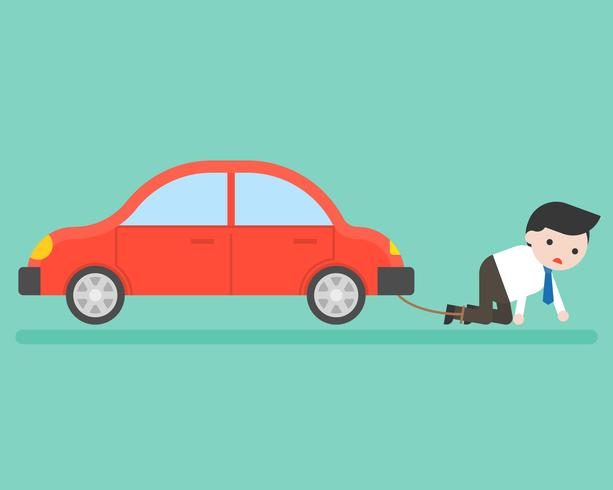 Businessman chained with car, burden about finance from car installment concept vector