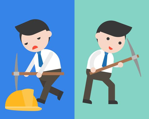 Cute Businessman or manager with pick axe in two mode vector