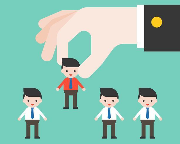 Big leader hand picks worker, flat design choosing people and apply job concept