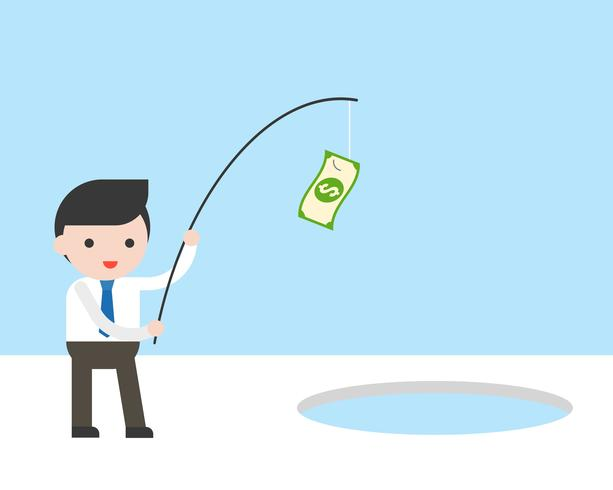 Businessman use banknote and fishing rod for fishing in ice hole, business situation