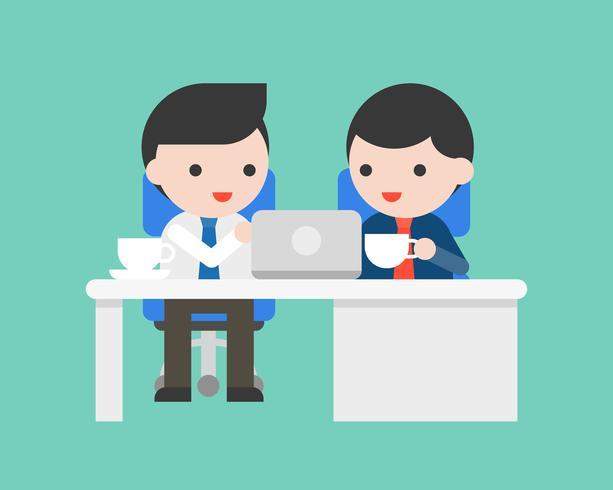 El hombre de negocios dos se sienta en el escritorio de oficina y discute el negocio, encontrando concepto vector