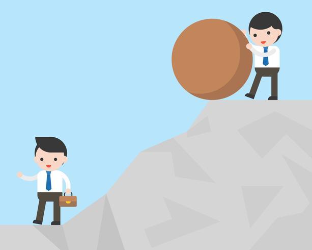 Empresario intenta derrotar a su competidor empujando roca vector