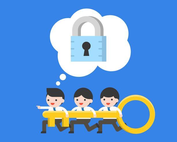 Diminuto empresario y equipo sosteniendo la llave, buscando una cerradura para desbloquear vector