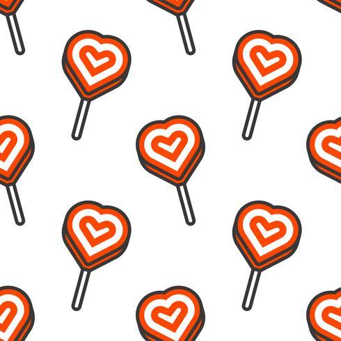 lolly hartvorm, Naadloos patroon voor gebruik als achtergrond