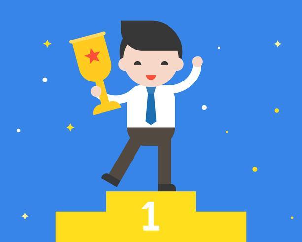 L'uomo d'affari che tiene la tazza del premio dell'oro, è una progettazione piana di successo di concetto