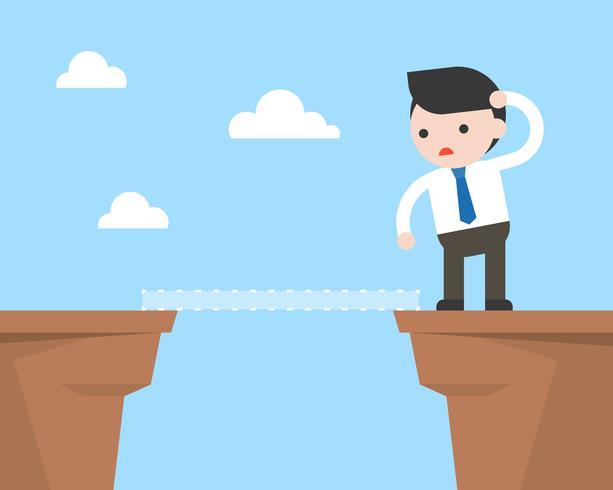Mirada de empresario al otro lado del acantilado, encontrando la manera de concepto de solución empresarial