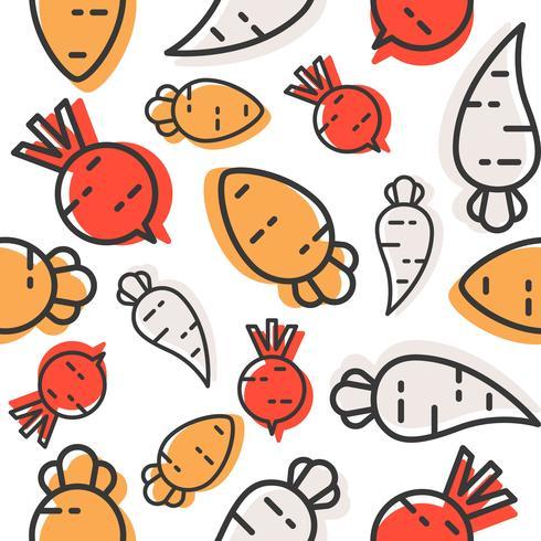 Zanahoria, rábano y remolacha patrón sin costuras, papel pintado vegetal de contorno
