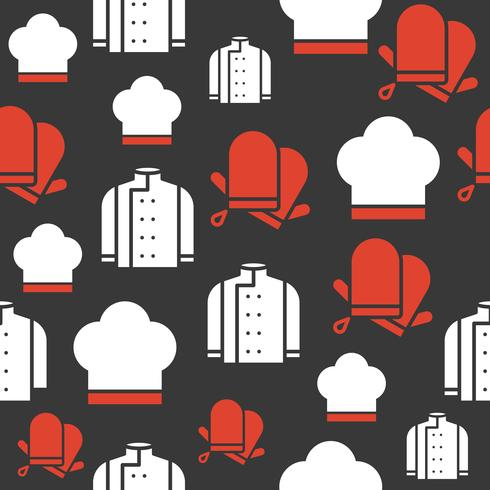 chef uniform with hat and gloves seamless pattern for wallpaper or wrapping paper vector
