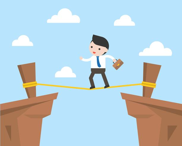 Businessman walking on rope across cliff, risk management concept vector