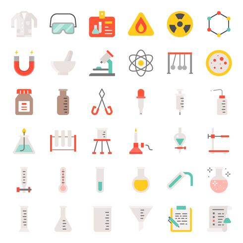 conjunto de iconos de equipo de laboratorio