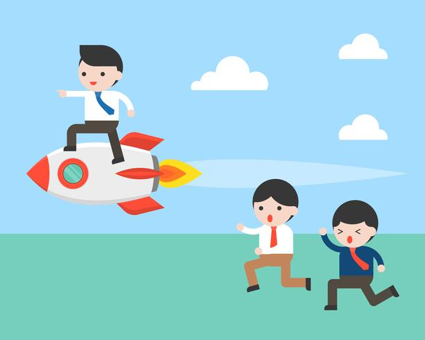 Business man riding on rocket let another person follow