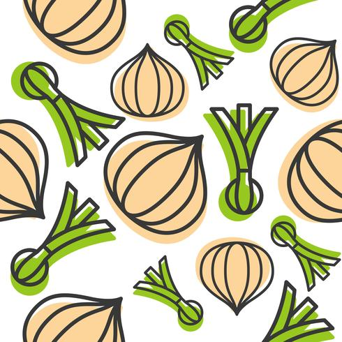 Onions and spring onion Seamless pattern outline vegetable set