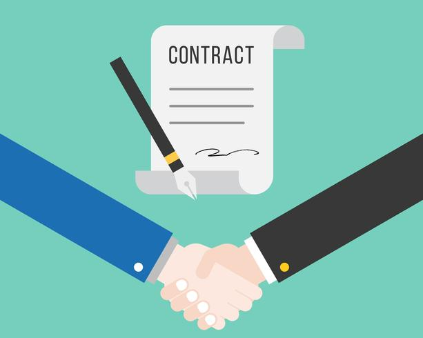 Shake hand and contract with pen, successful deal business concept