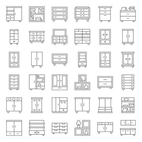 cupboard and cabinet interior furniture, outline icon set