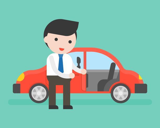 Zakenman of verkoper open auto's deur voor klant