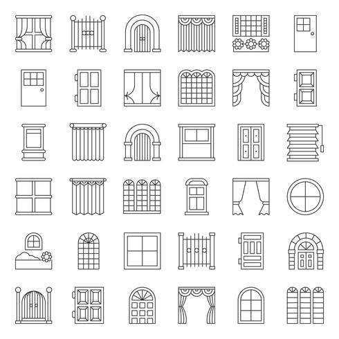 Modern, vintage Door and window icon set, outline style vector