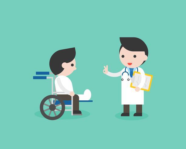 Médico y empresario pierna rota en silla de ruedas vector