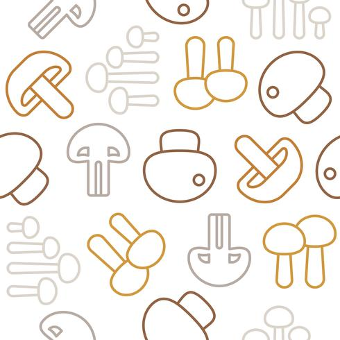 Seamless pattern Outline mushroom icon isolated on white background