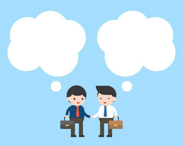 Dos hombre de negocios comprobar mano con burbujas de discurso en blanco vector