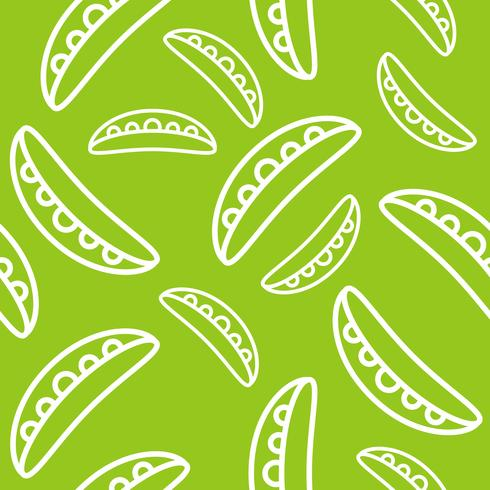 vegetable seamless pattern, green pea pod outline for wallpaper and background vector