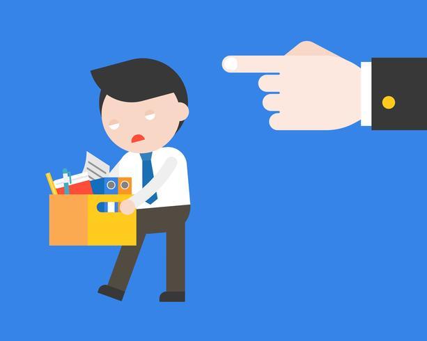 Point de la grande main à l'homme d'affaires triste, feu du concept de travail