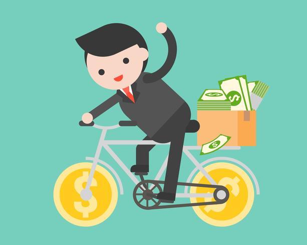 Uomo di affari che guida una bicicletta dei soldi con la scatola del pacchetto in pieno della banconota del dollaro,