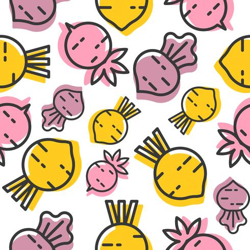 Beetroot and radish seamless pattern, outline vegetable wallpaper