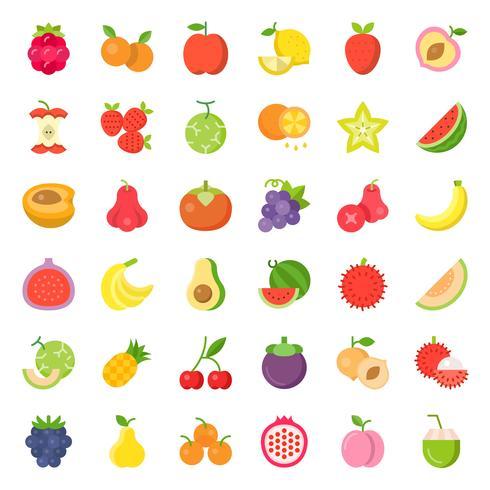 Schattig fruit en bessen, platte pictogrammenset 2 vector