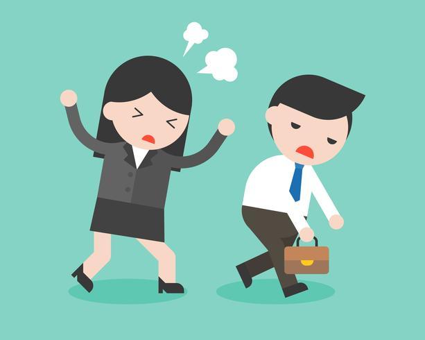Businesswoman scolding a boring businessman, conflict management concept vector