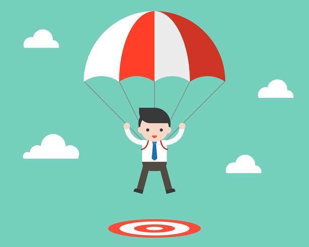 Salto de paracaídas de hombre de negocios a un objetivo, diseño plano