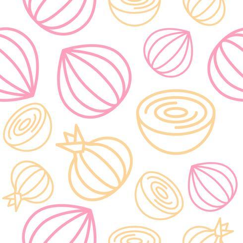 Onion Seamless pattern outline vegetable set