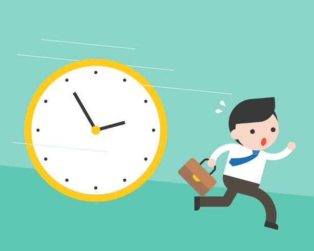 Cute businessman running from big clock follow him