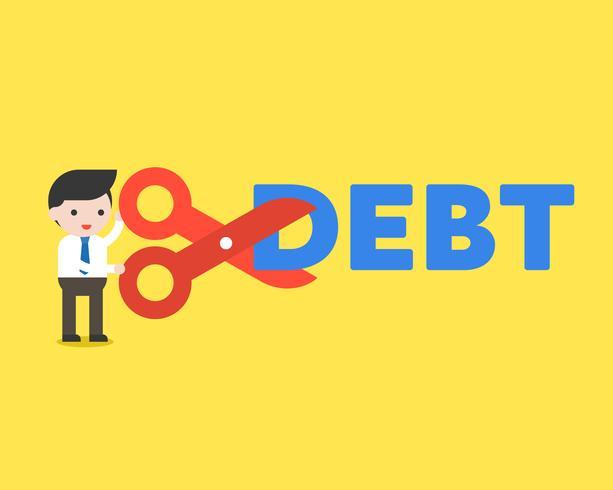 Schaar van de de besnoeiingsschuld van de zakenmanholding, het concept van de kostenvermindering