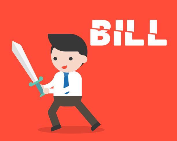 Hombre de negocios usando el título de la factura de la espada en dos partes, concepto de reducción de costos vector