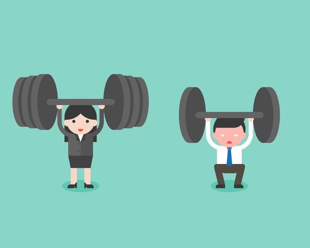 Lindo empresario y empresaria tratan de levantar peso, y la mujer ganó. vector