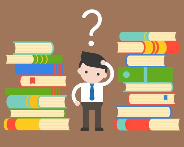Empresário confundir entre pilha de livros