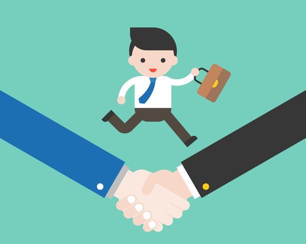 Hombre de negocios con bolsa en apretón de manos, cooperación trato exitoso vector