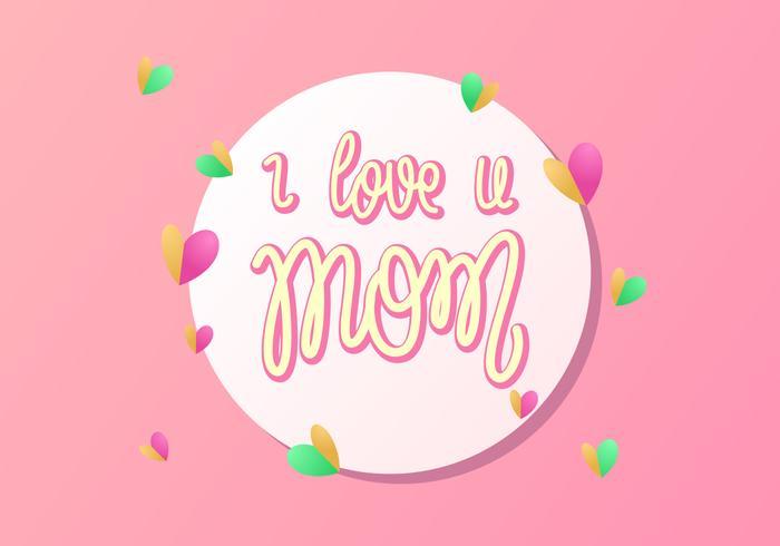 Main, lettrage, j'aime, maman, vecteur, typographie