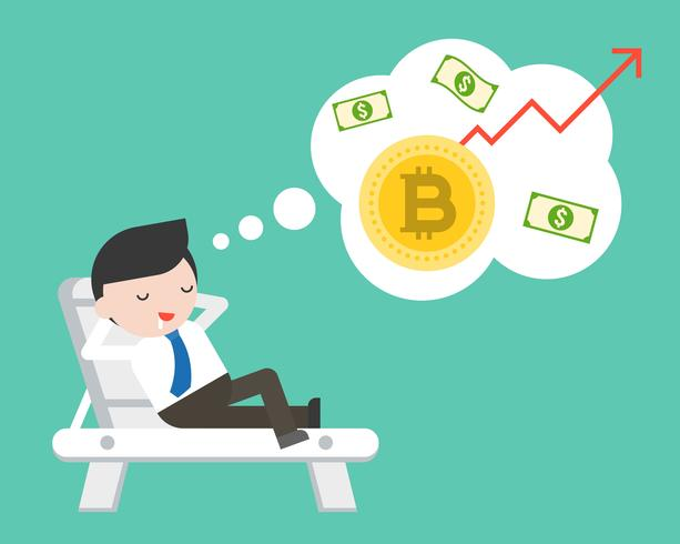 Affärsman låg på stranden säng drömmer om bitcoin öka värdet