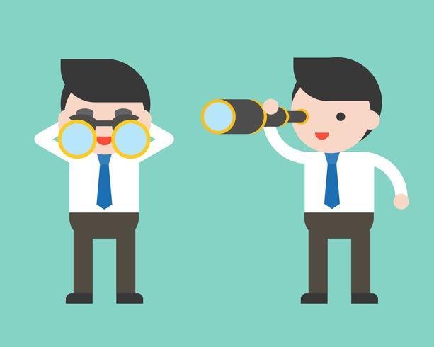 Hombre de negocios lindo o gerente con binoculares y alcance monocular vector