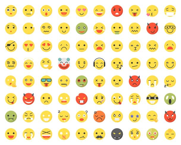 Set of various emoji with different faces and expressions