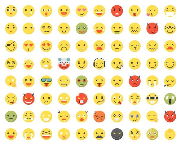 Conjunto de varios emoji con diferentes caras y expresiones.
