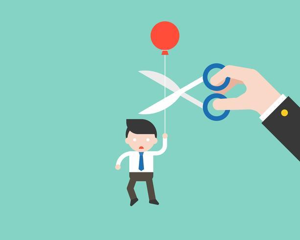 Empresario con balón y paranoico que mano grande corta su cuerda vector