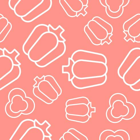 vegetable seamless pattern, bell pepper outline for wallpaper and background vector